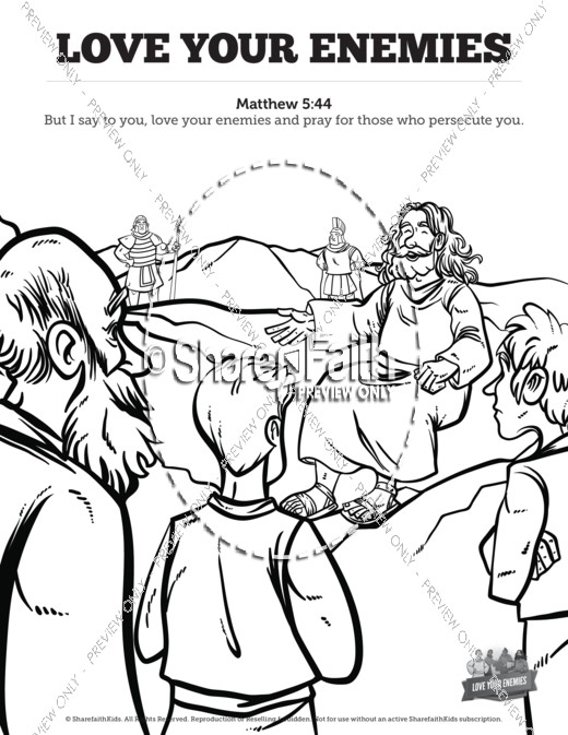 Matthew 5 Love Your Enemies Sunday School Coloring Pages | Sunday ...