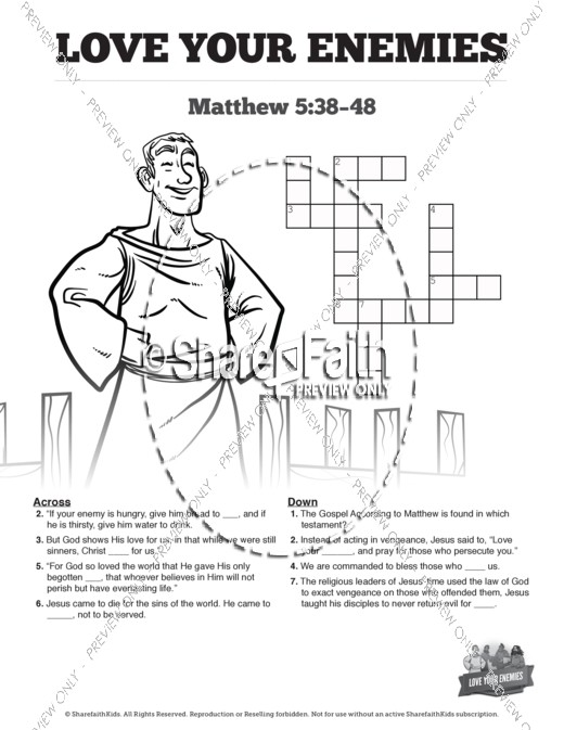 Matthew 5 Love Your Enemies Sunday School Crossword Puzzles