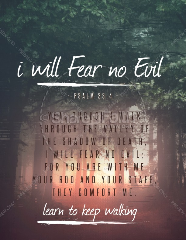I Will Fear No Evil Church Flyer