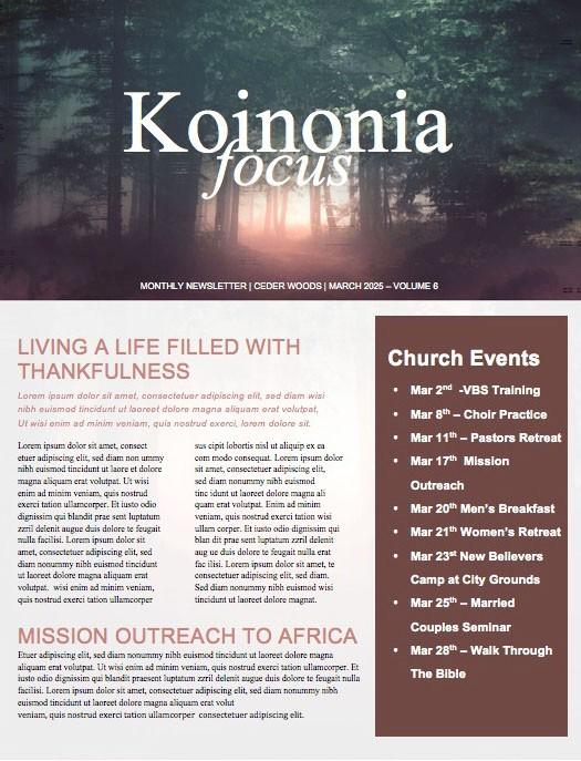 I Will Fear No Evil Church Newsletter