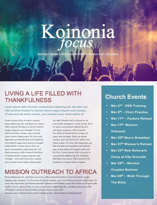 Be Lifted High Church Newsletter