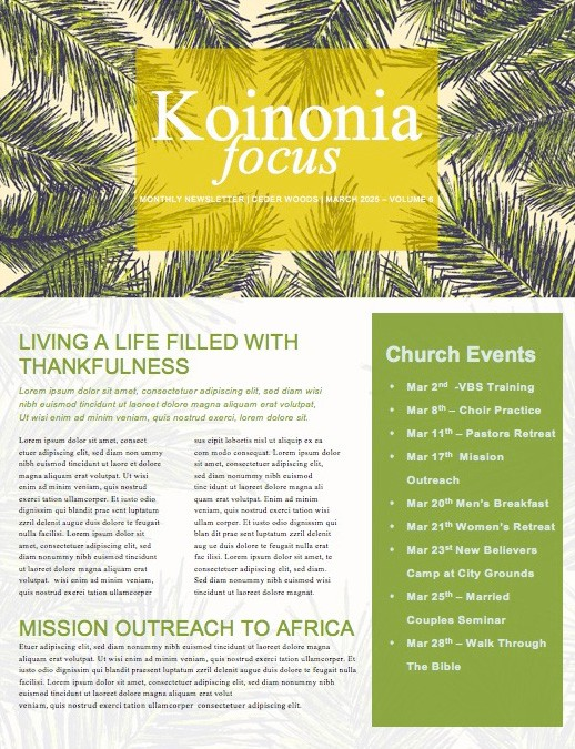 Palm Sunday Palm Branches Newsletter
