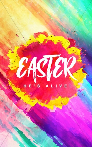 Easter Paint Splash Church Bulletin Cover