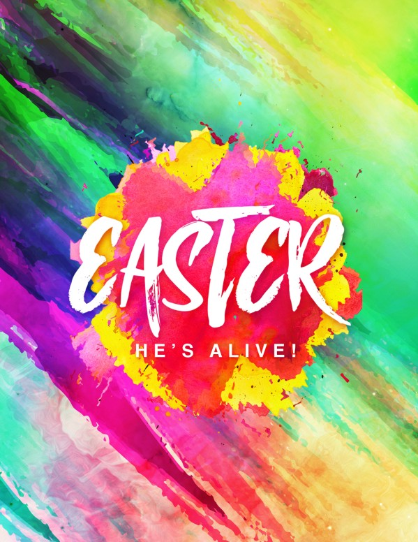 Easter Paint Splash Church Flyer