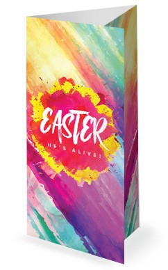 Easter Paint Splash Church Trifold Bulletin