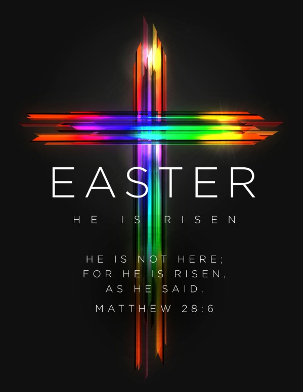Easter Cross He Is Risen Church Flyer