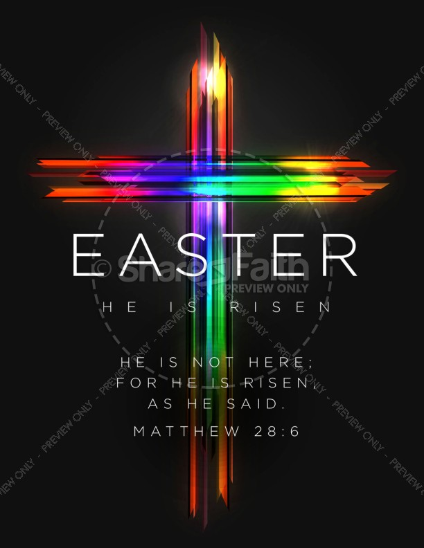 easter cross he is risen church flyer template