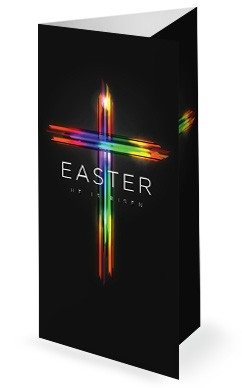 Easter Cross He Is Risen Trifold Bulletin Cover
