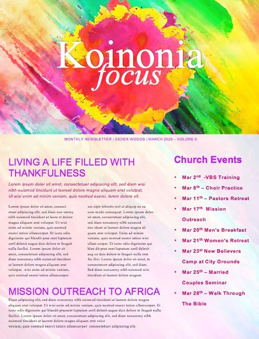 Easter Paint Splash Church Newsletter