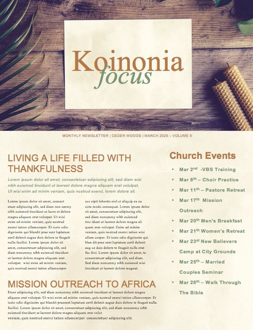 Palm Sunday Hosanna Church Newsletter