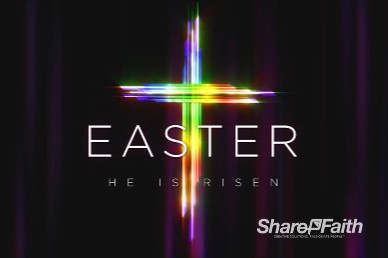 Easter Cross He Is Risen Church Motion Graphic