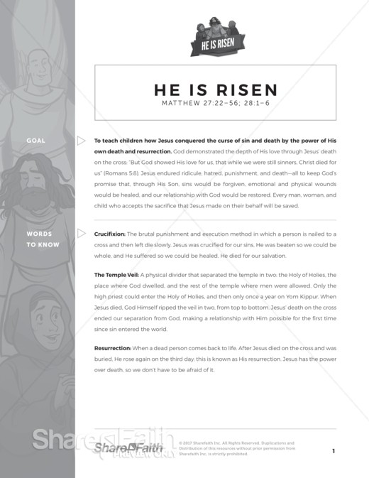 Matthew 28 He Is Risen Curriculum