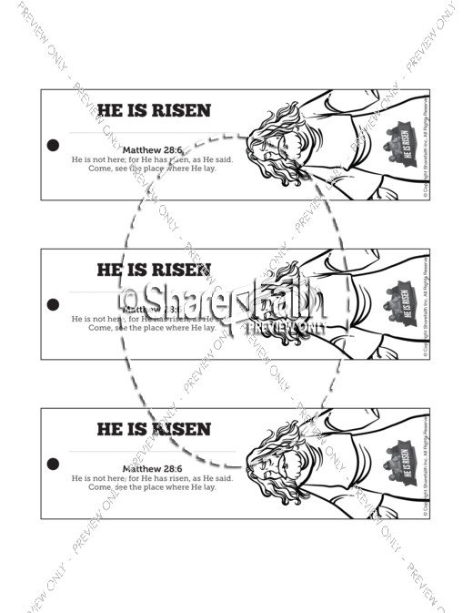 Matthew 28 He Is Risen Easter Bible Bookmarks