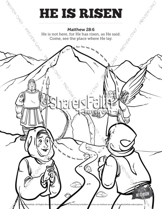 Matthew 28 He Is Risen Easter Sunday School Coloring Pages