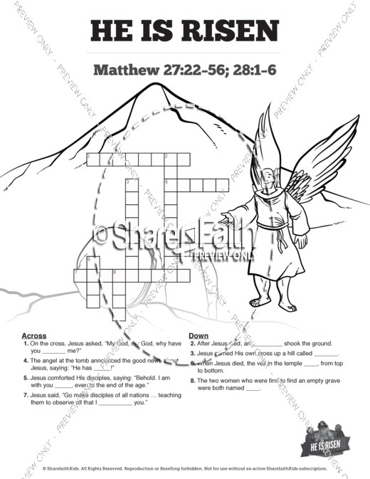 Matthew 28 He Is Risen Easter Sunday School Crossword Puzzles