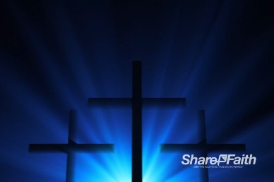 Three Crosses Silhouette Easter Worship Background Loop