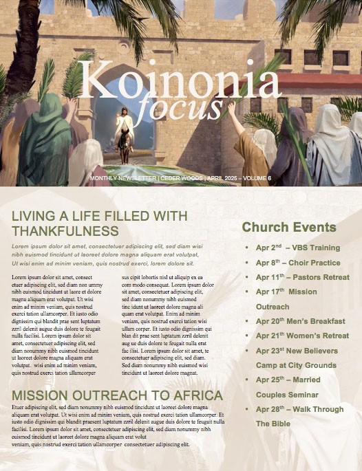 Palm Sunday Hosanna In The Highest Newsletter