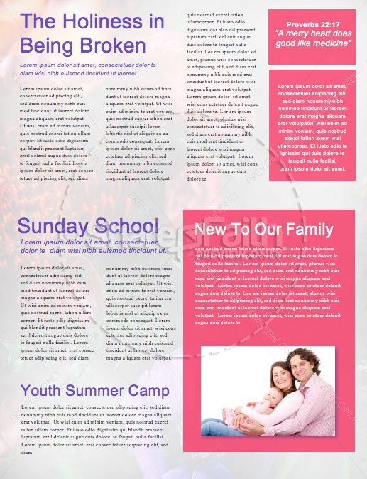 Mother's Day Flower Church Newsletter Template