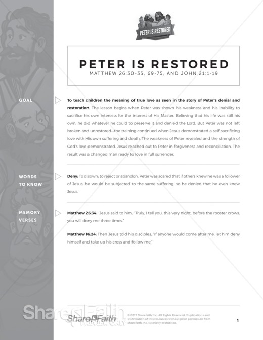 John 21 Peter Is Restored Curriculum