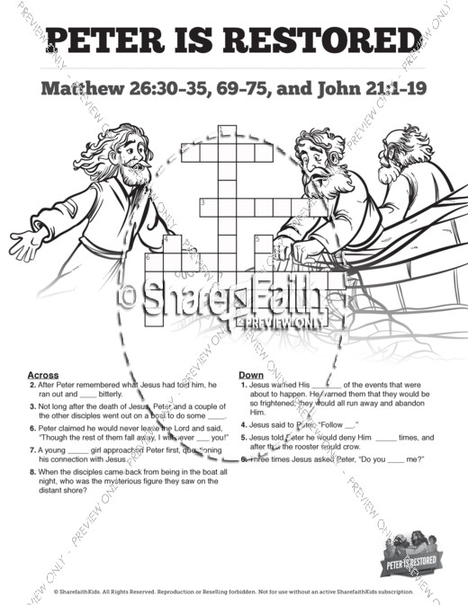 John 21 Peter Is Restored Sunday School Crossword Puzzles
