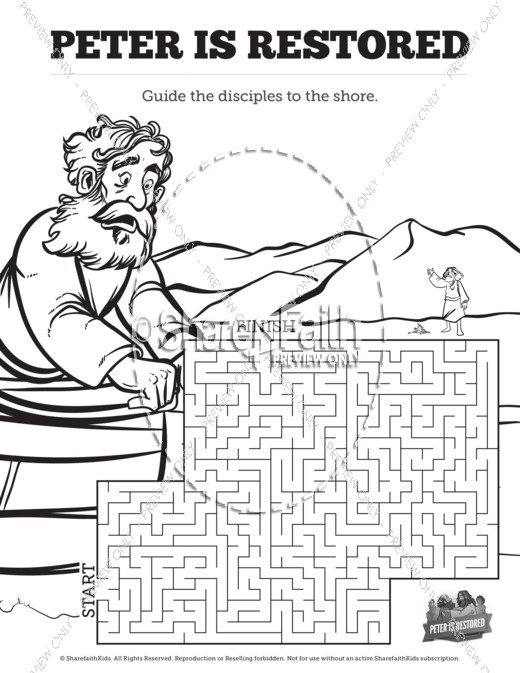 John 21 Peter Is Restored Bible Mazes