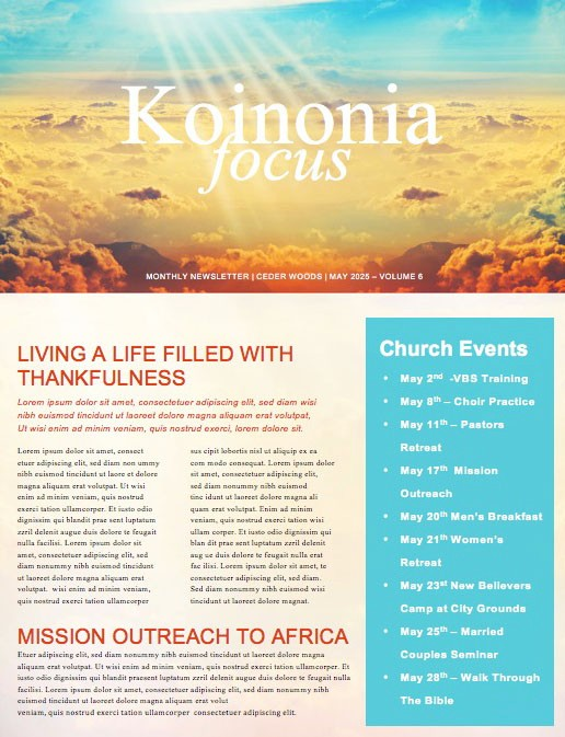 The Best Is Yet To Come Church Newsletter