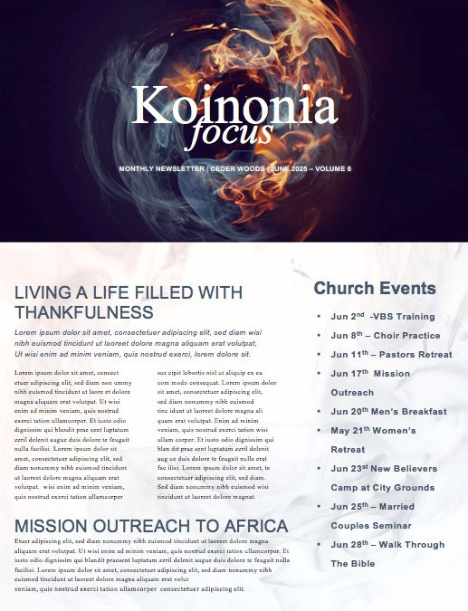 Tongues of Fire Pentecost Church Newsletter