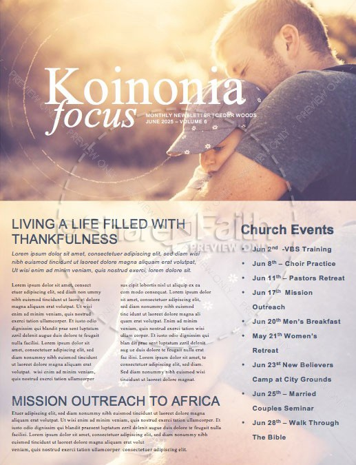 A Father's Love Church Father's Day Newsletter | page 1