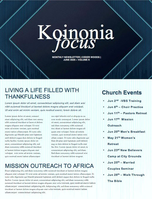Graduation Sunday Church Newsletter Template