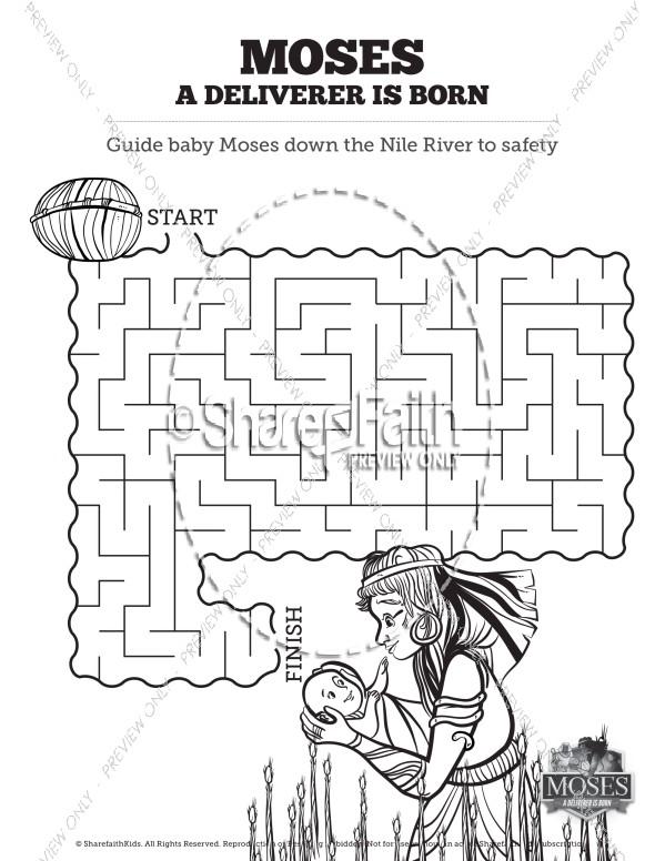 Exodus 2 Baby Moses Bible Mazes