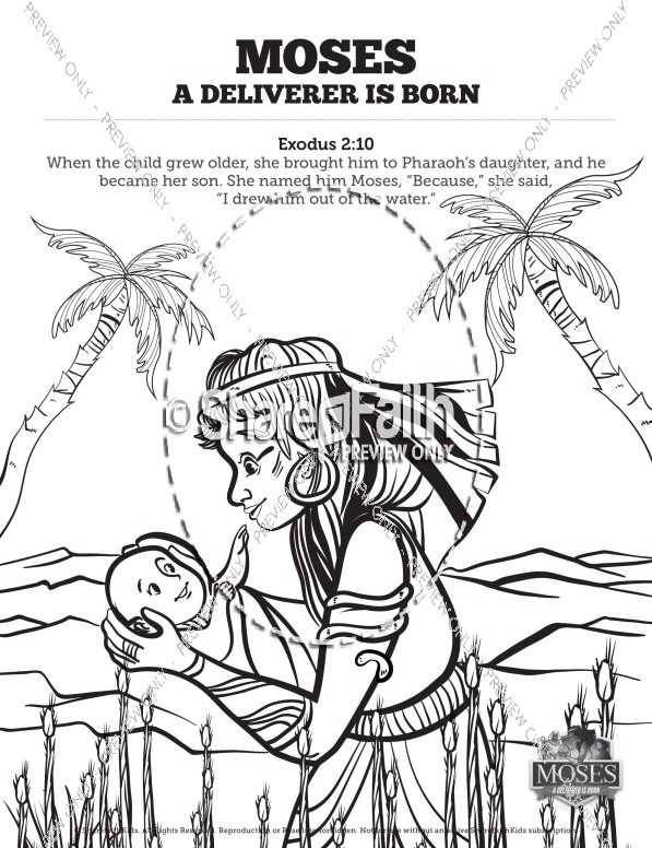 Exodus 2 Baby Moses Sunday School Coloring Pages