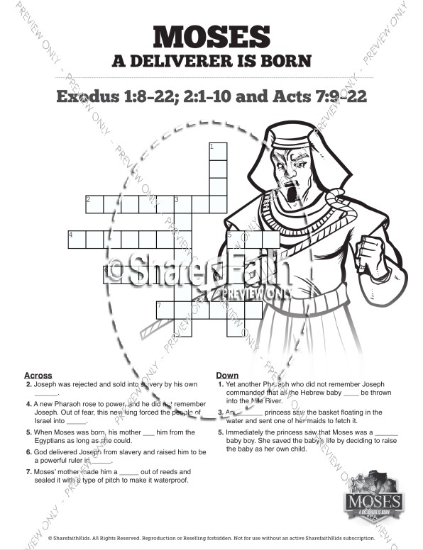 Exodus 2 Baby Moses Sunday School Crossword Puzzles