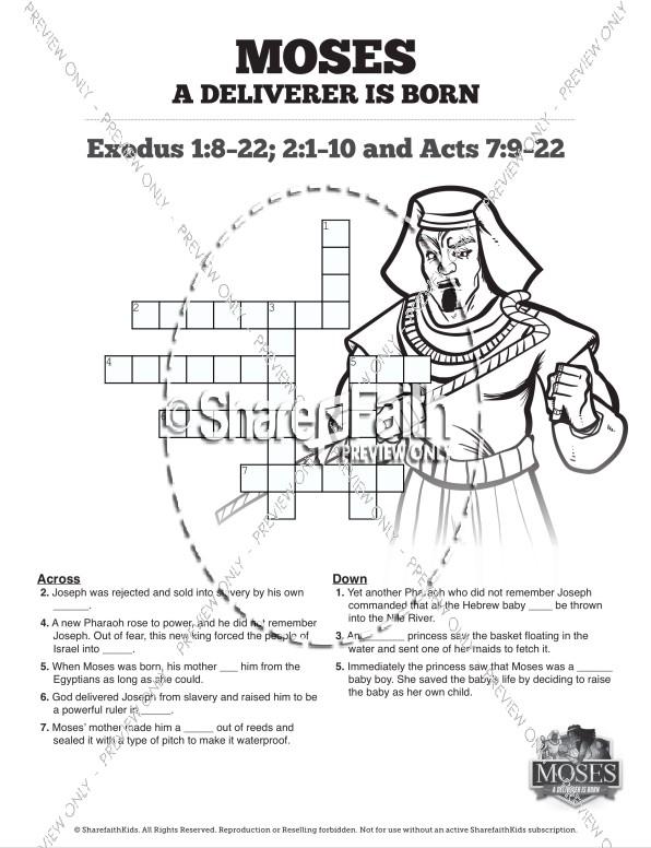 Exodus 2 Baby Moses Sunday School Crossword Puzzles