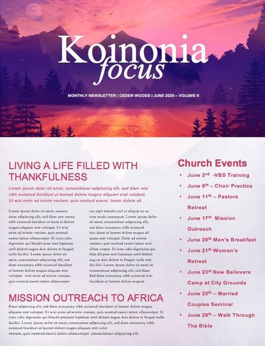 Church Summer Camp Newsletter