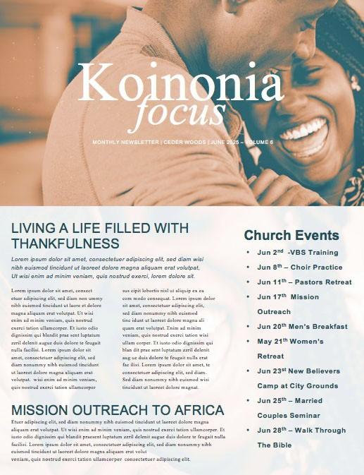 Authentic Manhood Church Newsletter