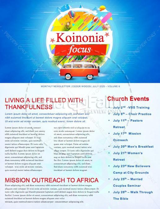 Church Vacation Bible School Newsletter
