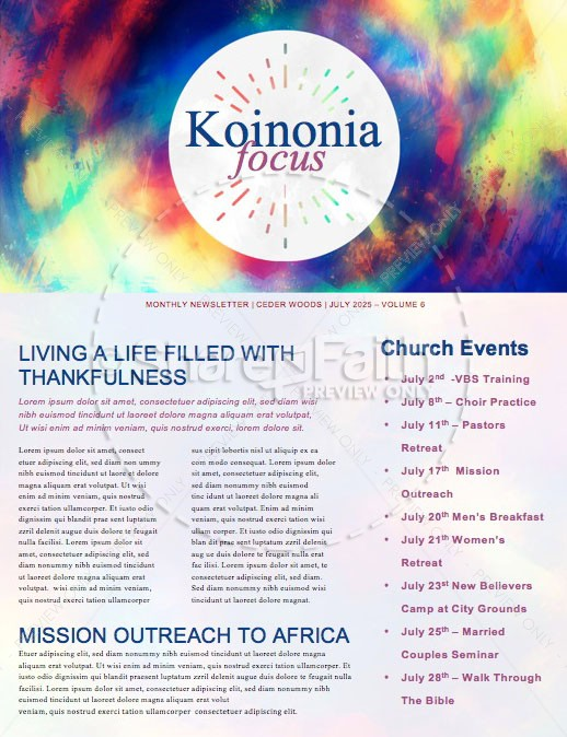 Christ the Center Church Newsletter Template