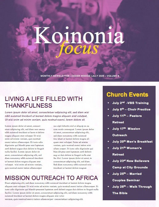 Beautiful editready Church Newsletters and Newsletter Templates – Church Newsletter