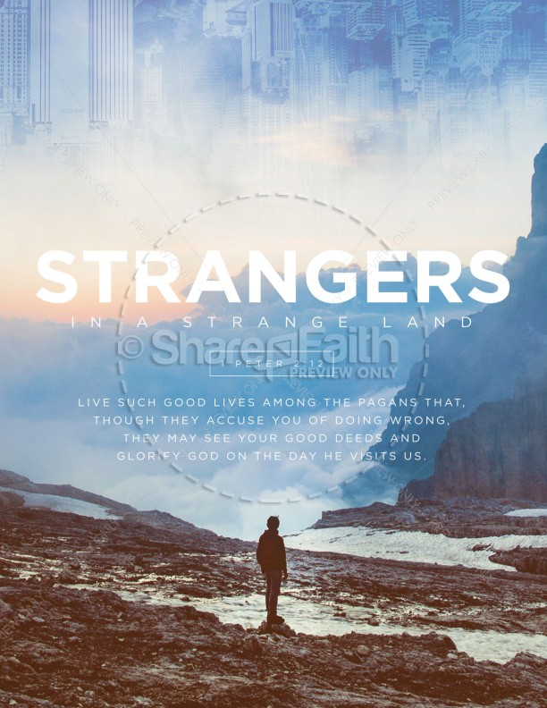Strangers In A Strange Land Church Flyer Template | page 1