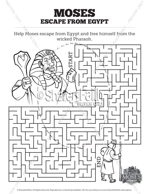 Exodus 2 Moses Escapes From Egypt Bible Mazes