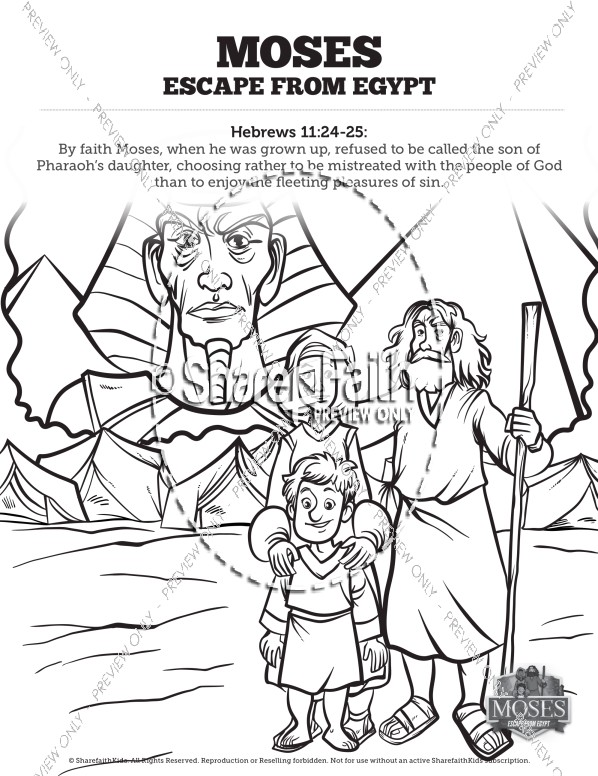 Exodus 2 Moses Escapes From Egypt Sunday School Coloring Pages