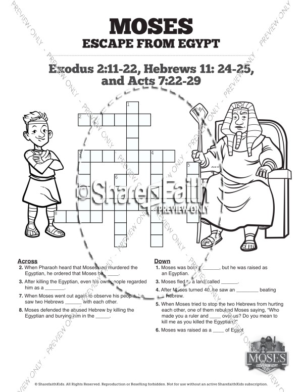 Exodus 2 Moses Escapes From Egypt Sunday School Crossword Puzzles