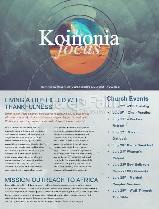 Genesis In The Beginning Church Newsletter Template | page 1