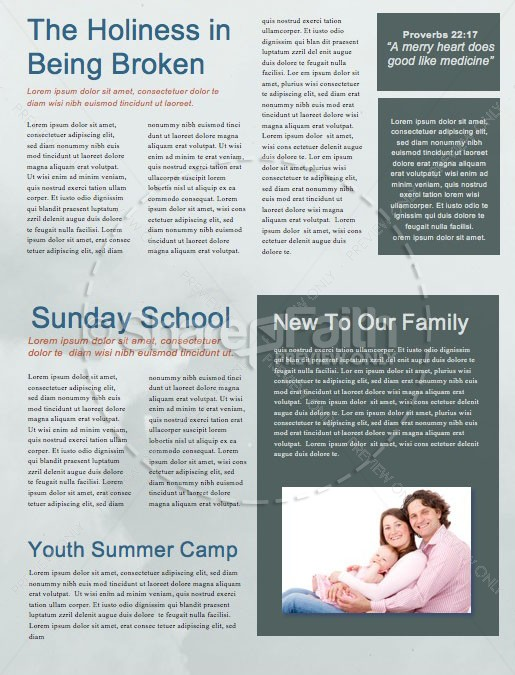 Genesis In The Beginning Church Newsletter Template