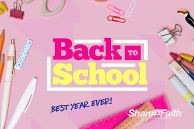 Back to School Supplies Church Motion Graphic