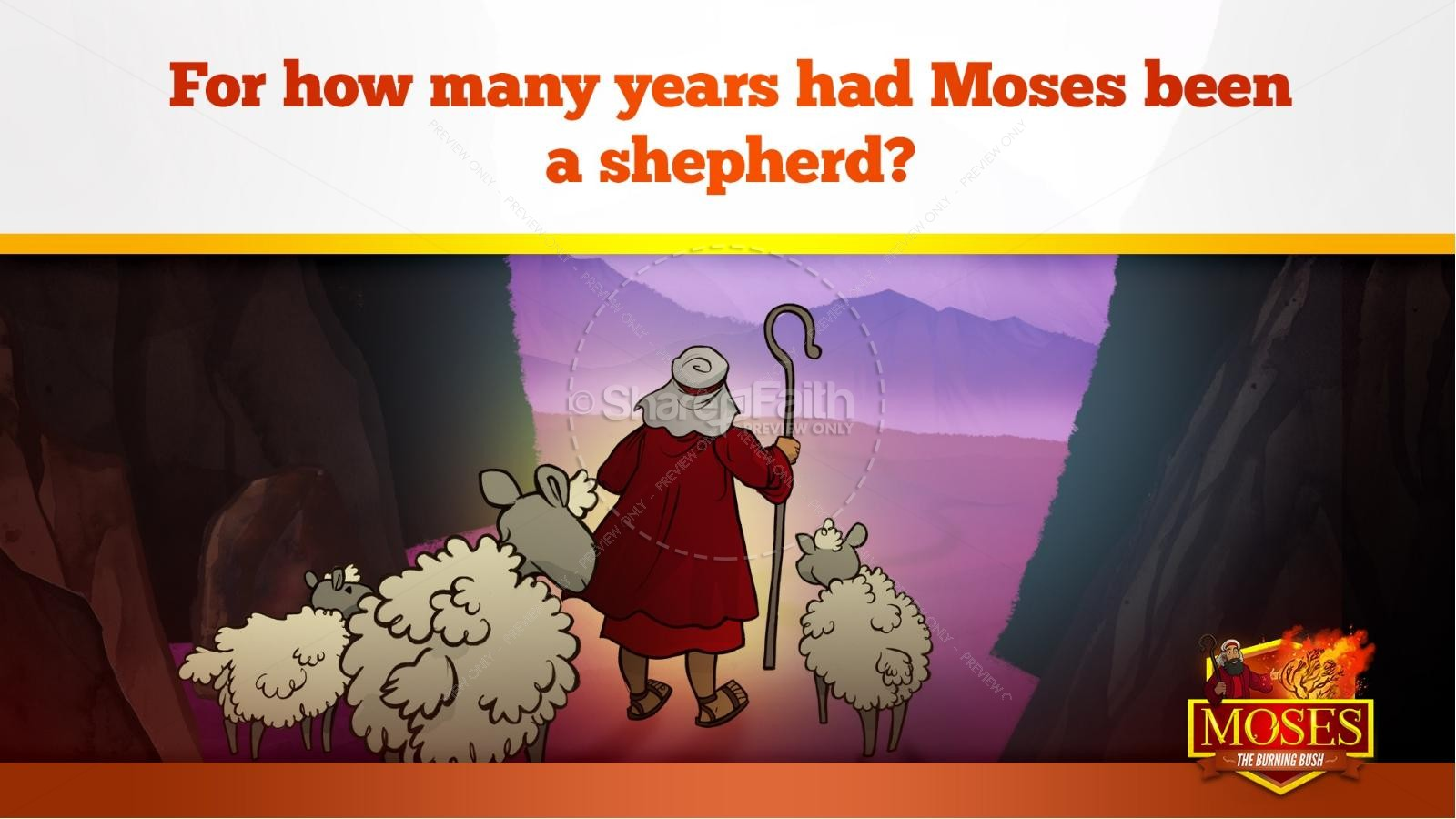 Exodus 3 Moses and the Burning Bush Kids Bible Stories | slide 11