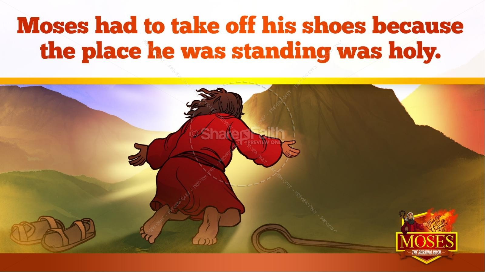 Exodus 3 Moses and the Burning Bush Kids Bible Stories | slide 20