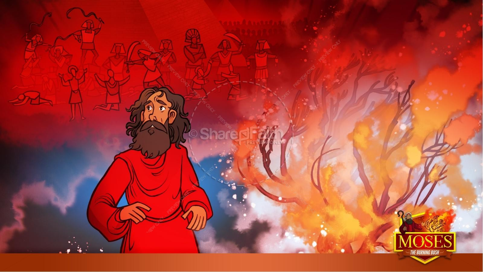 Exodus 3 Moses and the Burning Bush Kids Bible Stories | slide 22