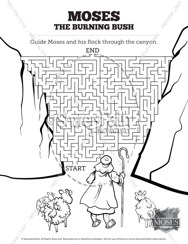 Exodus 3 Moses and the Burning Bush Bible Mazes