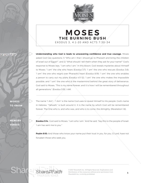 Exodus 3 Moses and the Burning Bush Curriculum